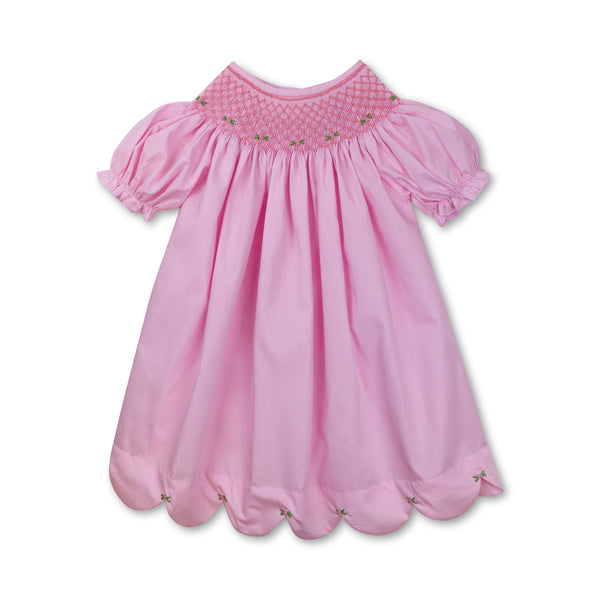 Pink Smocked Rosette Scallop Bishop Dress