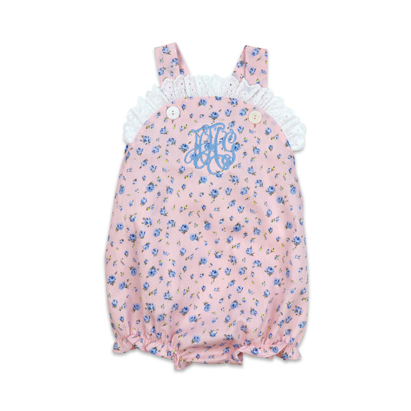 Pink and Blue Floral Eyelet Bubble