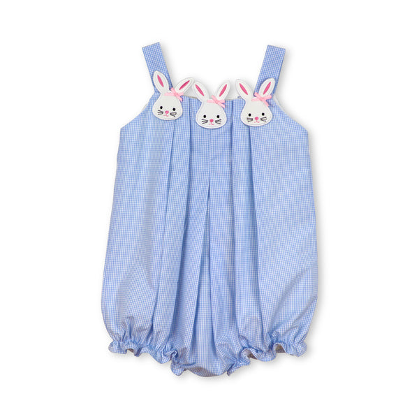 Blue Gingham Pleated Bunny Bubble