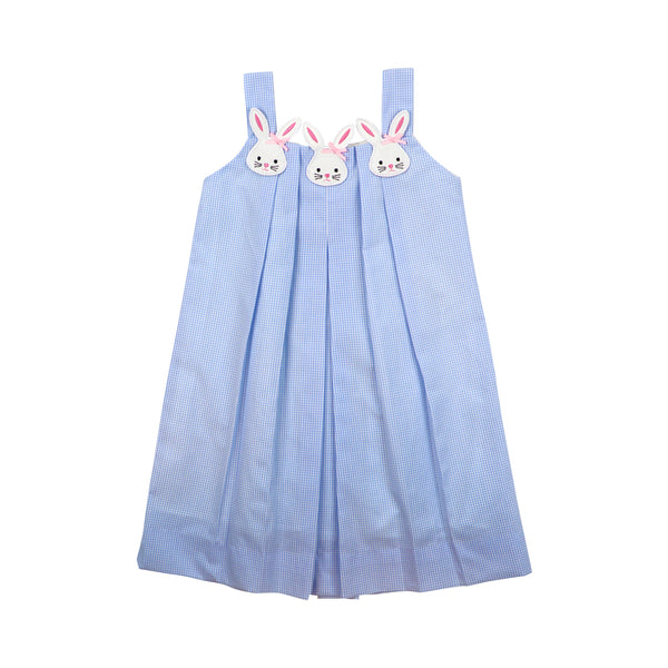 Blue Gingham Pleated Bunny Dress