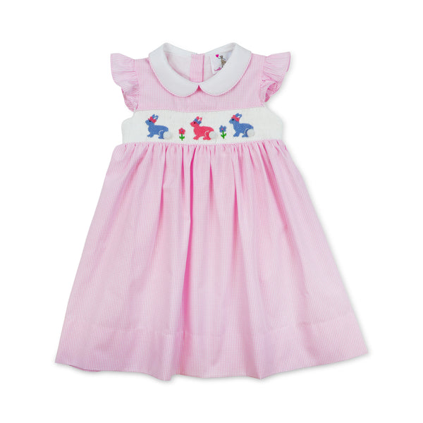 Pink Gingham Smocked Bunny Dress