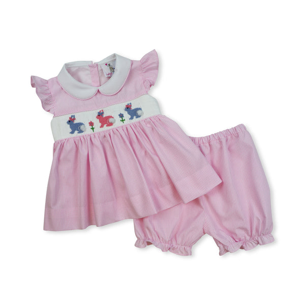 Pink Gingham Smocked Bunny Bloomer Set