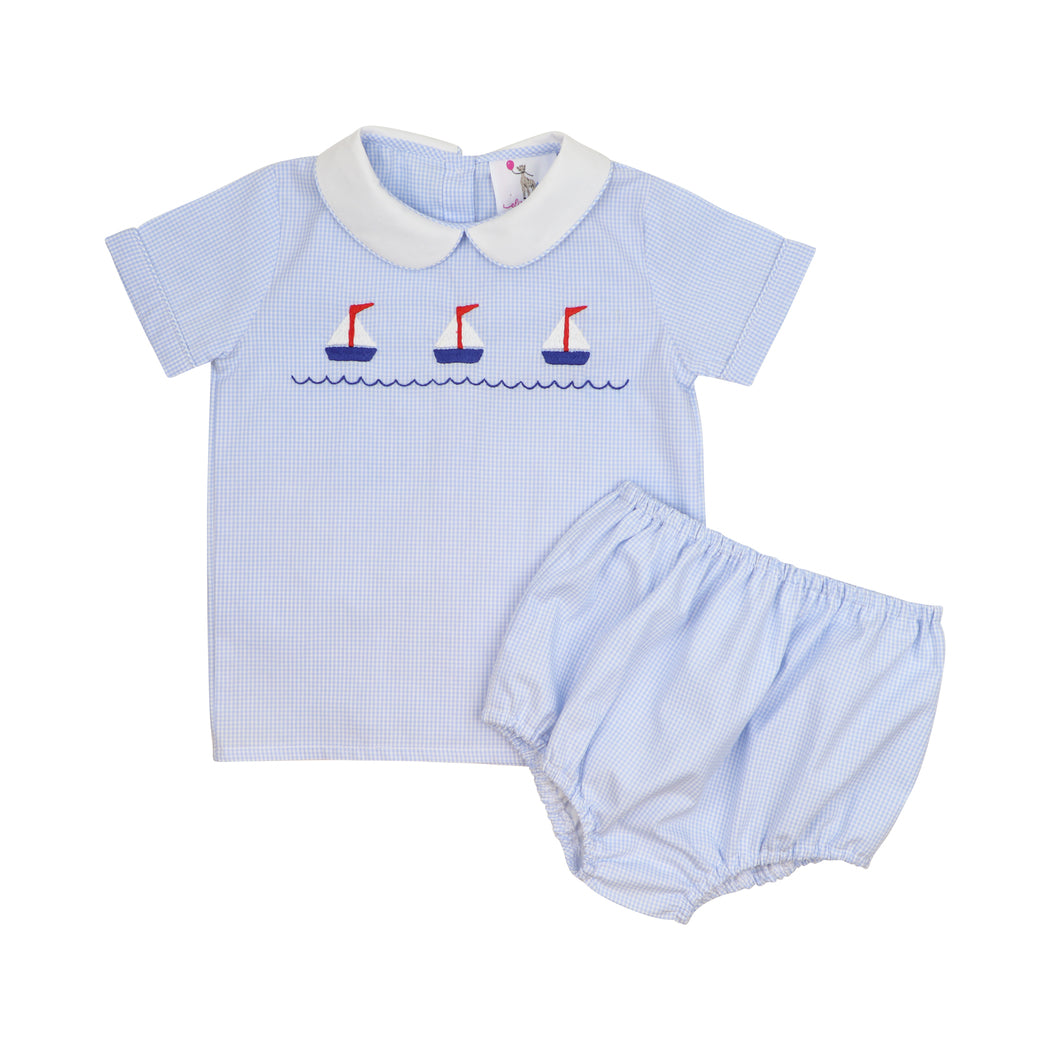 Blue Gingham Embroidered Sailboat Diaper Set