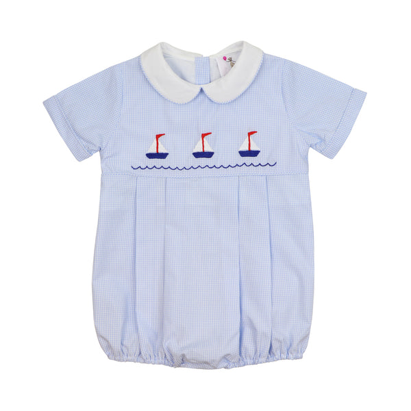 Blue Gingham Embroidered Sailboat Bubble