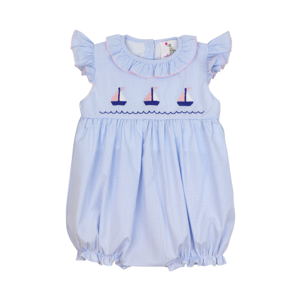 Blue Gingham Embroidered Sailboat Ruffle Bubble