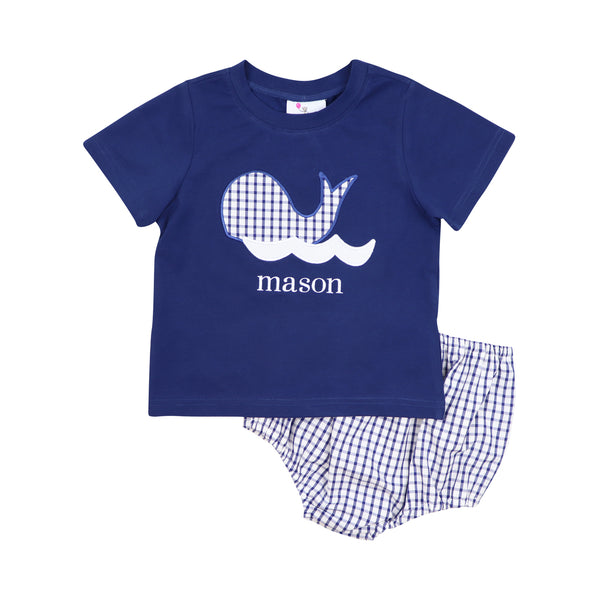 Navy Windowpane Whale Diaper Set