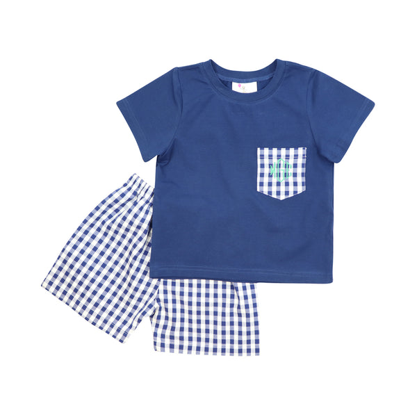 Navy Check Play Short Set