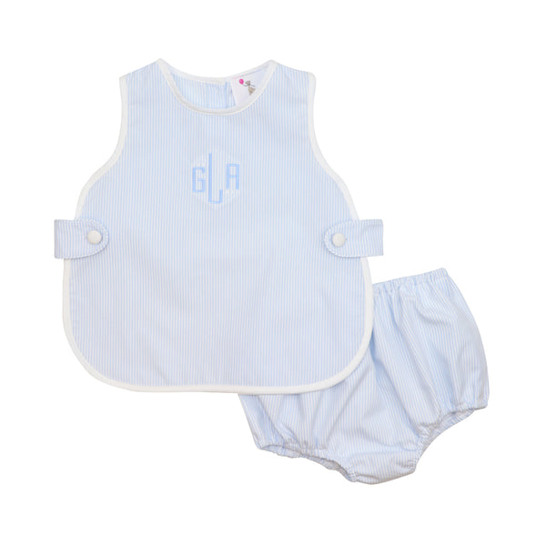 Blue Mini Stripe Apron Diaper Set