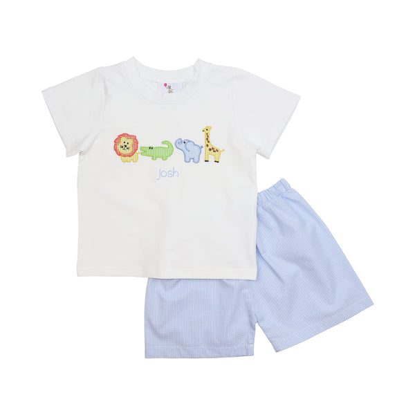 Blue Gingham Zoo Short Set