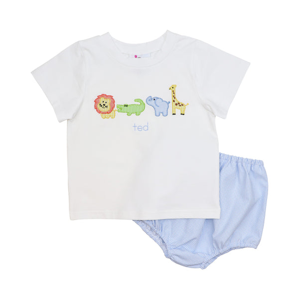 Blue Gingham Zoo Diaper Set