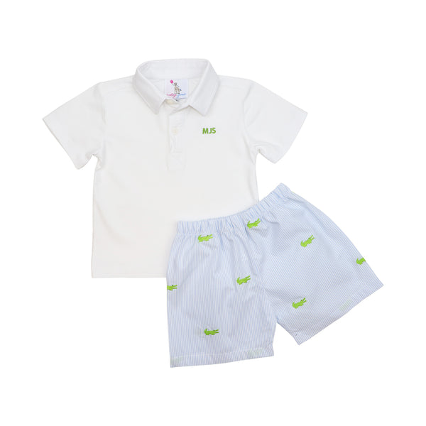 Blue Mini Stripe Alligator Polo Short Set