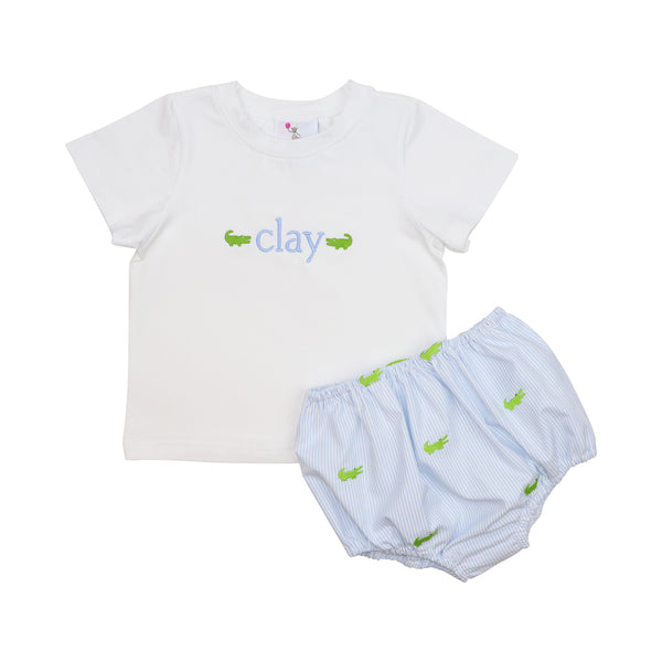 Blue Mini Stripe Alligator Diaper Set
