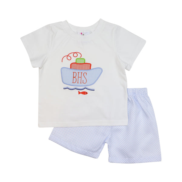 Blue Pique Dot Tug Boat Short Set