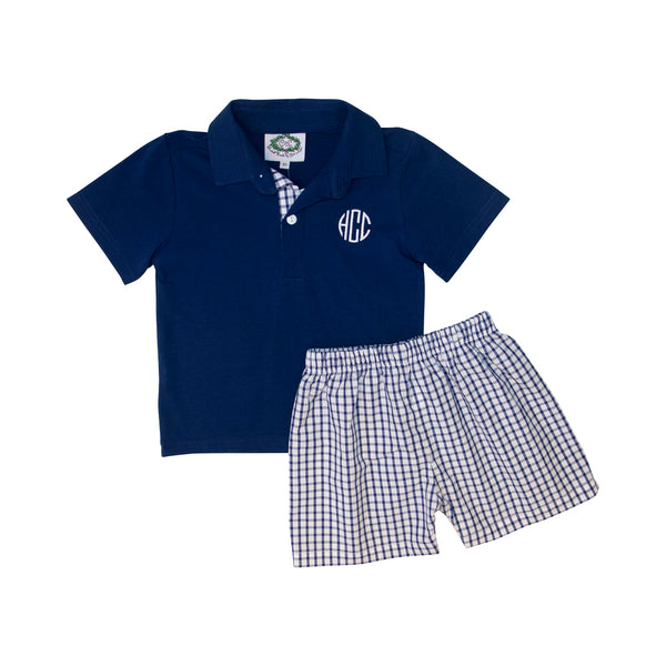 Navy Windowpane Polo Set