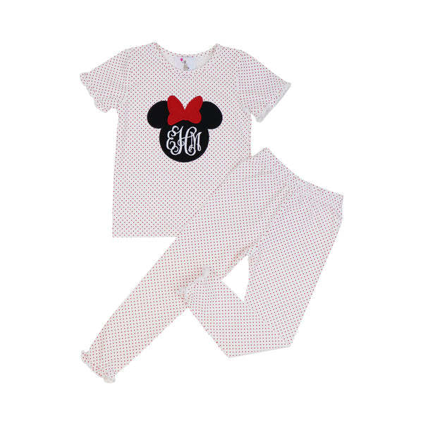 Red Dot Knit Applique Mouse Ears Ruffle PJ Set