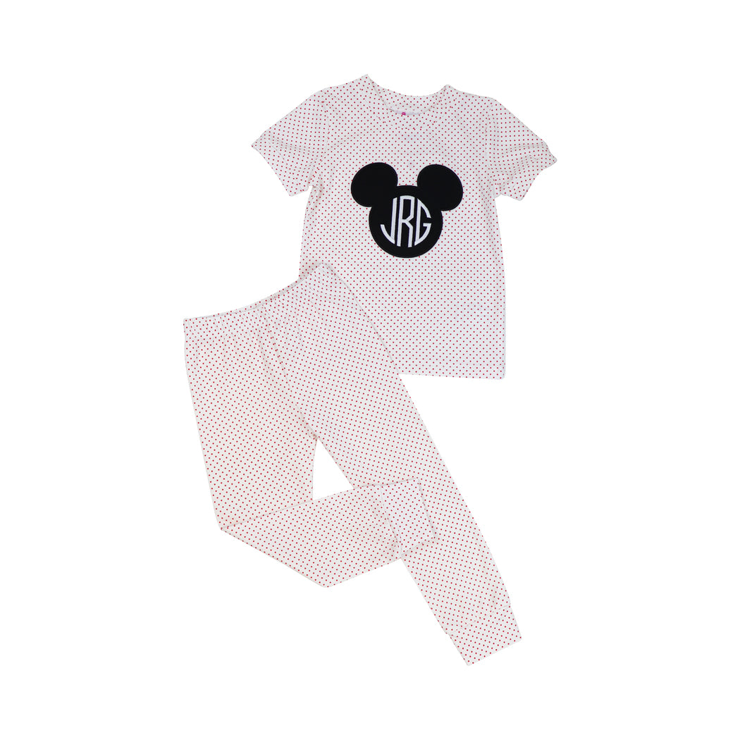 Red Dot Knit Applique Mouse Ears PJ Set