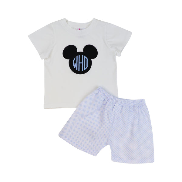 Blue Pique Dot Applique Mouse Ears Short Set