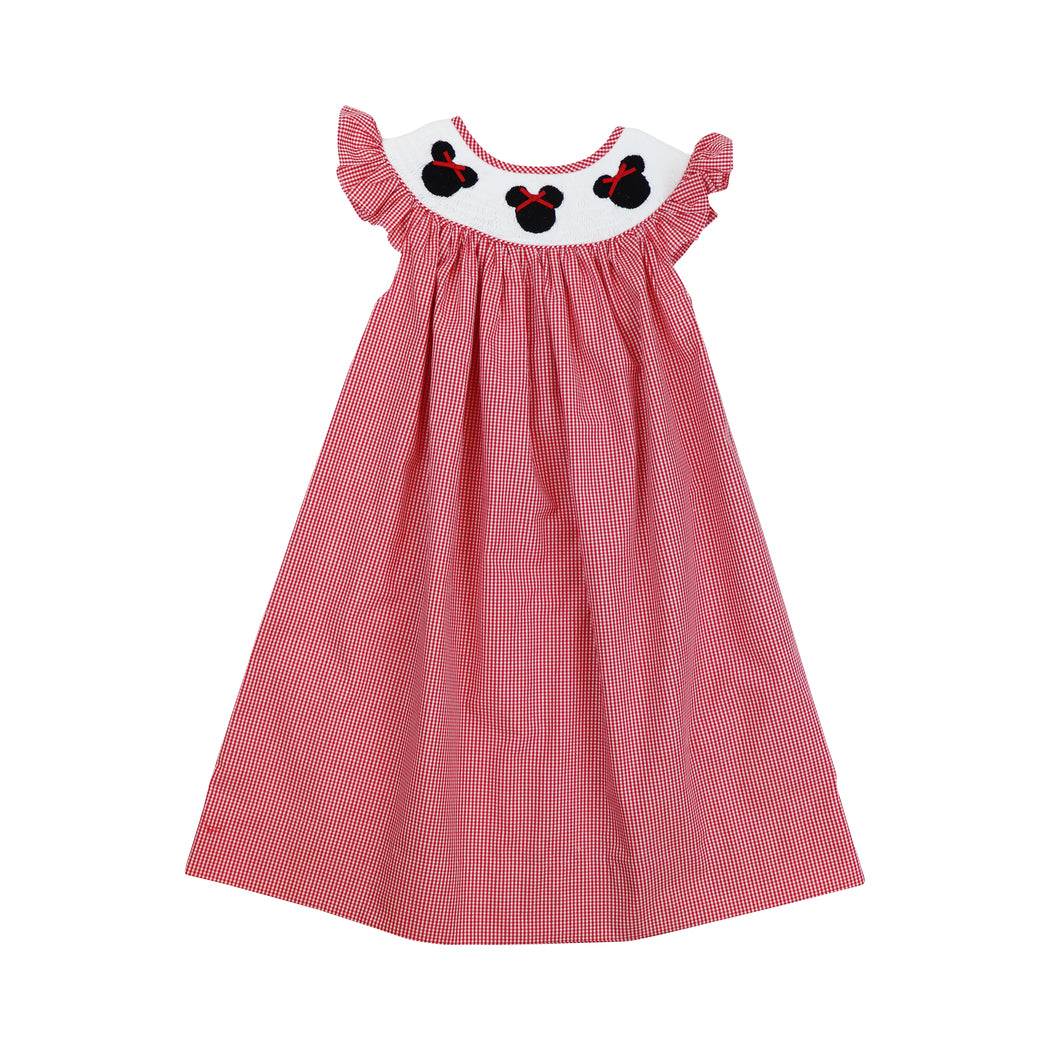 Red Gingham Smocked Mouse Ears Bishop Dress