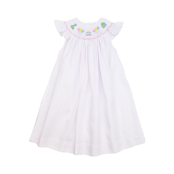 Pink Pique Dot Smocked Birthday Bishop Dress