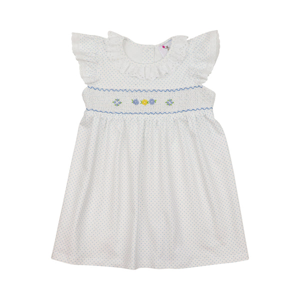 Blue Knit Dot Smocked Rosette Dress