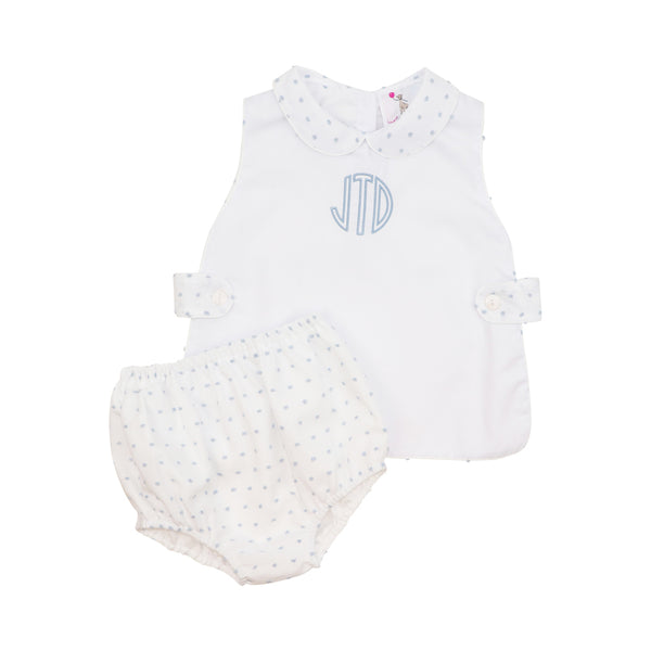 Blue Swiss Dot Apron Diaper Set