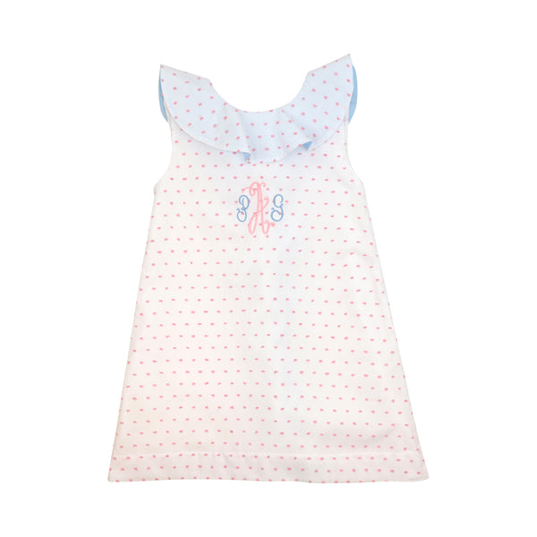 Pink Swiss Dot Blue Ruffle Dress