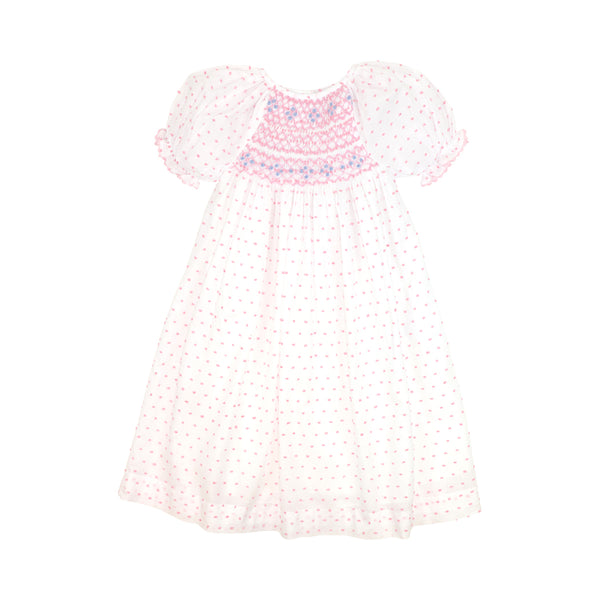 Pink Swiss Dot Smocked Rosette Bishop Dress