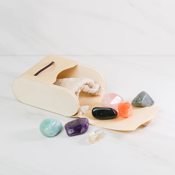 Chakra Alignment Large Gem Stone set in wood gift box