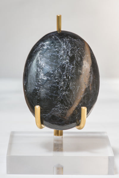 Polished Black Tourmaline Palm Stone