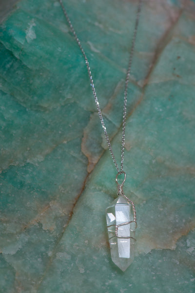 Wire Wrapped Clear Quartz Point Necklace