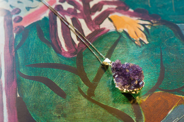 Amethyst Cluster Pendant on Sterling Silver Chain