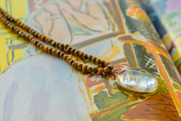 Tiger's Eye and Clear Quartz Necklace