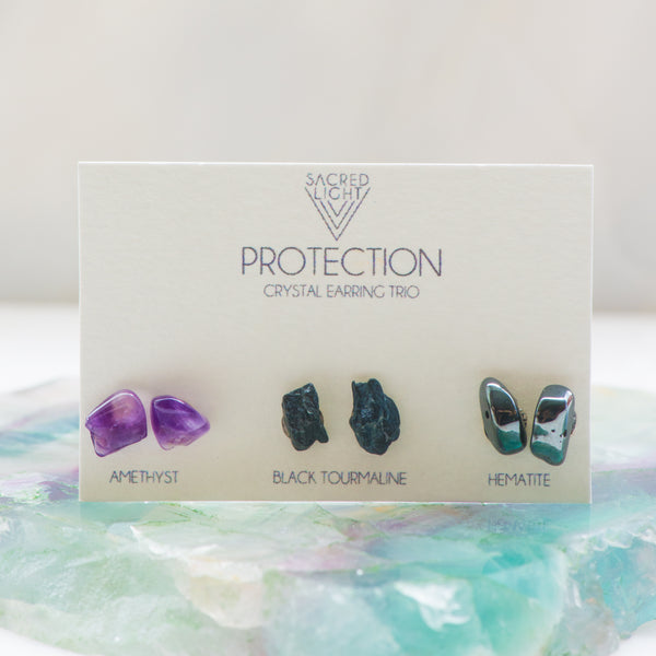 Protection Trio Earrings - Sacred Light Soundbaths and Crystals