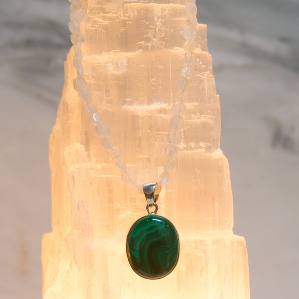 Malachite and Moonstone Necklace