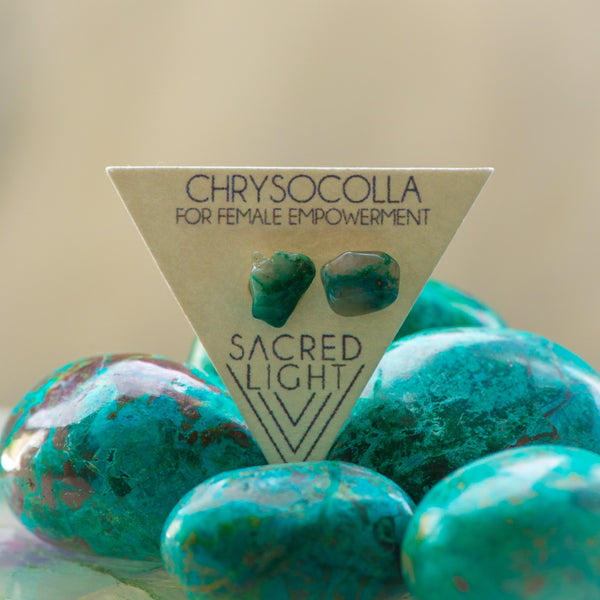 Chrysocolla Earrings - Sacred Light Soundbaths and Crystals