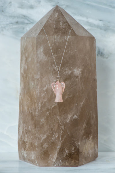Wire Wrapped Rose Quartz Angel Necklace
