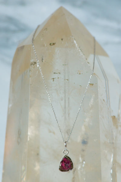 Sterling Silver Watermelon Tourmaline Necklace - Sacred Light Soundbaths and Crystals