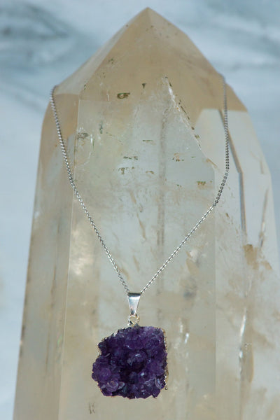 Amethyst Cluster Pendant on Sterling Silver Chain - Sacred Light Soundbaths and Crystals