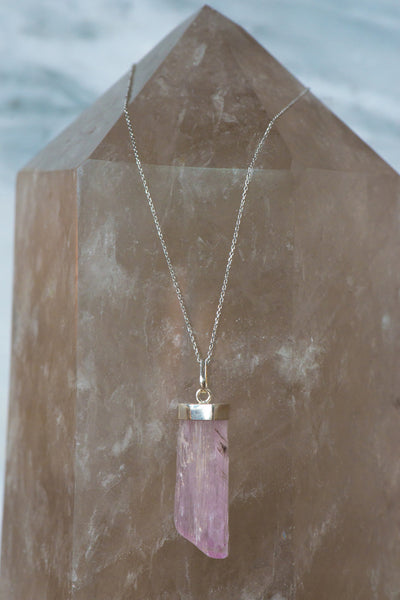 Sterling Silver Kunzite Necklace - Sacred Light Soundbaths and Crystals