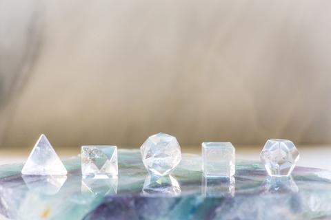 Clear Quartz Platonic Solid Set of 5