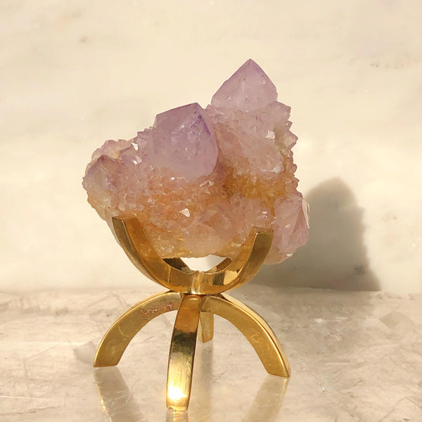 Spirit Quartz with Brass Stand - Sacred Light Soundbaths and Crystals