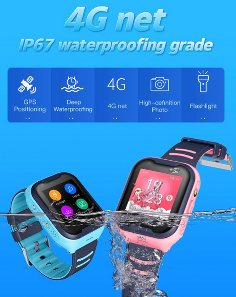 4G Waterproof Track Your Kid Security GPS Smart Phone Watch With Flashlight