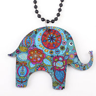 Elephant Necklace Acrylic Long Chain Pendant