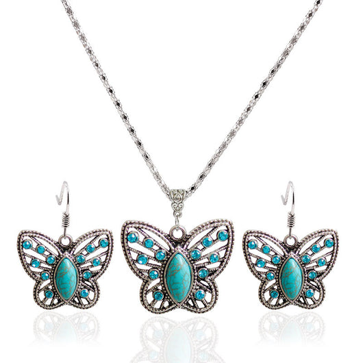 Vintage Necklace & Earrings Butterfly