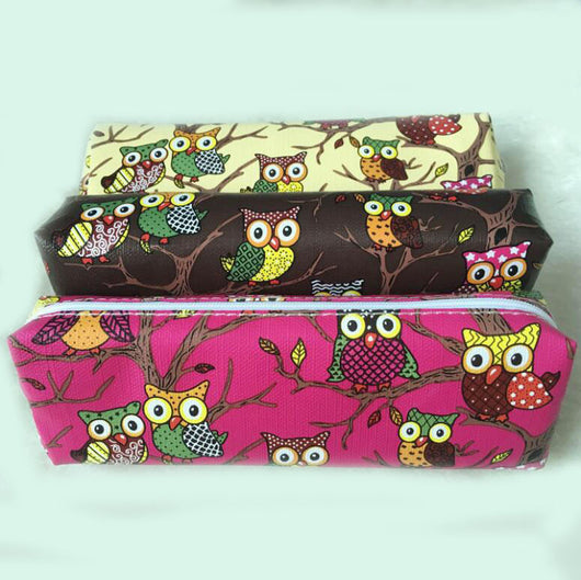 Vintage owl pencil bag