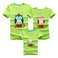 Family printed T Shirts - Owl