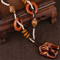 Elephant Wooden Necklace E1