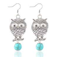 White Silver  Owl Turquoise earrings