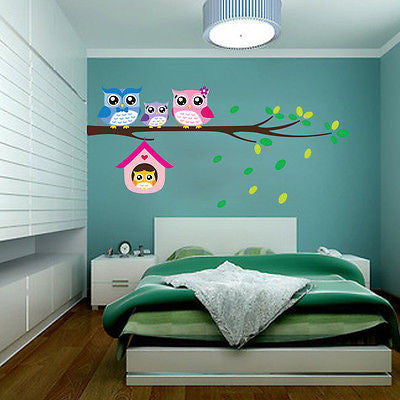Owl Birds Branch Wall Sticker