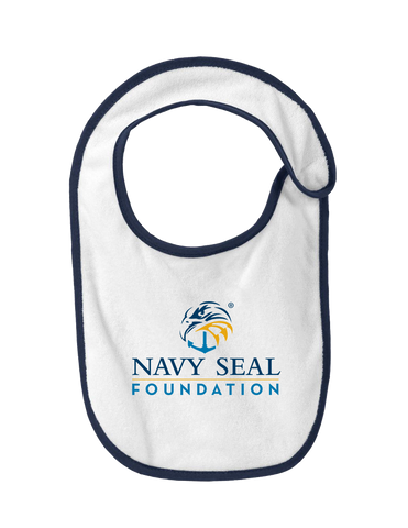 Precious Cargo Infant Terry Bib - White/Navy